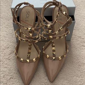 Sole Society Gold  Rock Studded Strappy Pumps